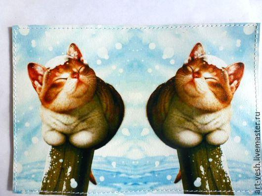 Обложка для паспорта Коты.Обложка на паспорт.Подарок на 8 марта