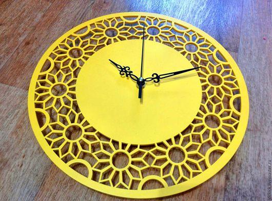"""Часы для дома ручной работы. Ярмарка Мастеров - ручная работа. Купить Настенные часы """"Солнечные"""". Handmade. Желтый, солнечный, цветы"""