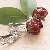 Гранатовые розы - серьги лэмпворк