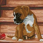 Материалы для творчества handmade. Livemaster - original item The puppy on the stairs. Scheme cross stitch. Handmade.