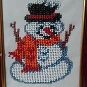Картины ручной работы. Ярмарка Мастеров - ручная работа Картины: Снеговик.  бисер. Handmade.