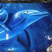 Картины и панно ручной работы. Ярмарка Мастеров - ручная работа Дельфины и акула. Handmade.