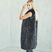Одежда handmade. Livemaster - original item Long fox fur vest in black. Handmade.