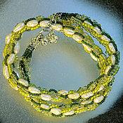 Украшения handmade. Livemaster - original item Green necklace with pearl. Handmade.