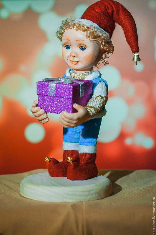 Коллекционные куклы ручной работы. Ярмарка Мастеров - ручная работа. Купить Джастин с подарком. Handmade. Голубой, гном, гном с подарком