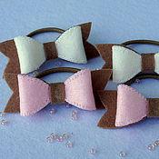 Работы для детей, ручной работы. Ярмарка Мастеров - ручная работа Комплект резинок для волос бантики Ореховое пралине. Handmade.