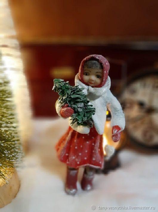 Ватная игрушка на елку , девочка с елочкой, Елочные игрушки, Томск,  Фото №1