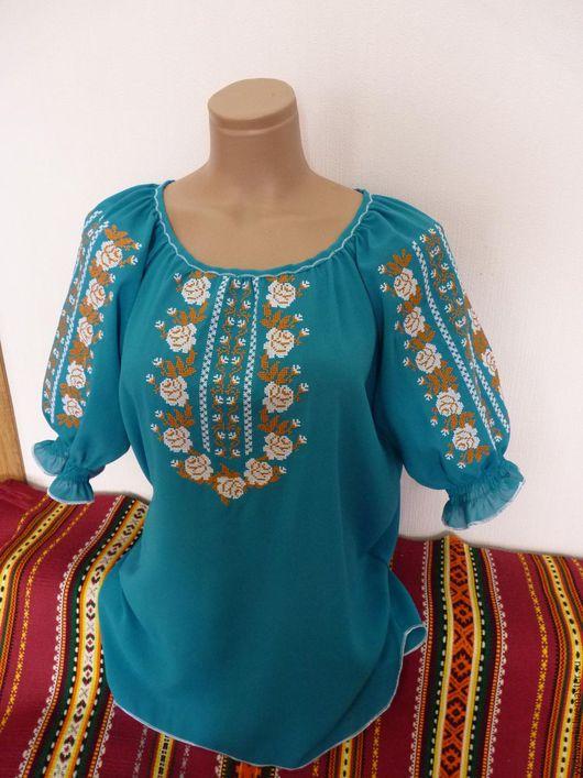 Этническая одежда ручной работы. Ярмарка Мастеров - ручная работа. Купить Красивая летняя женская вышиванка на шифоне. Handmade.