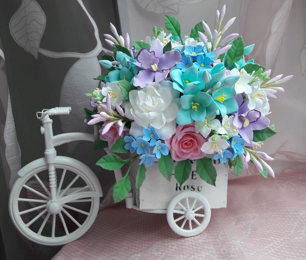 Букет Велосипед с цветами, Украшения, Москва,  Фото №1