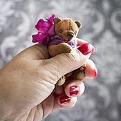 Куклы и игрушки ручной работы. Ярмарка Мастеров - ручная работа Мишка тедди Цветочек.  Мини мишка тедди. 7см. Handmade.