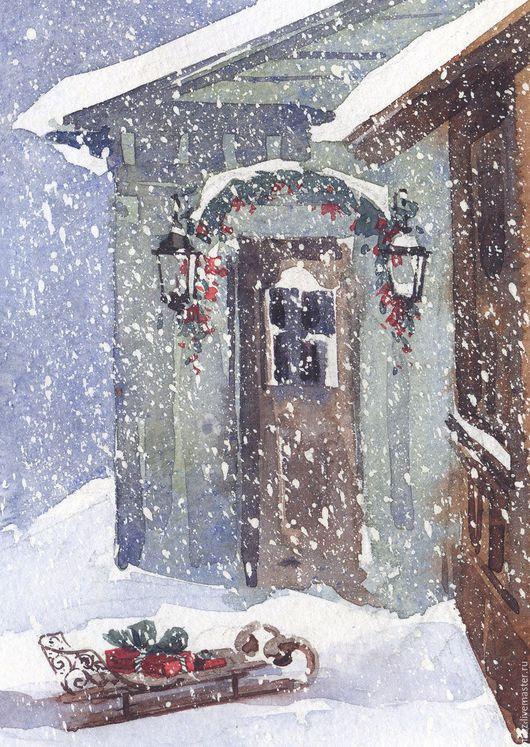 Новогодняя открытка `Крылечко`. Авторская открытка с акварелью. Открытка ручной работы, акварель, авторская открытка, поздравительная открытка, акварельная открытка, открытка картина.