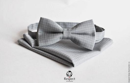 Галстуки, бабочки ручной работы. Ярмарка Мастеров - ручная работа. Купить Серая бабочка галстук + нагрудный платок / Комплект Кардинал. Handmade.