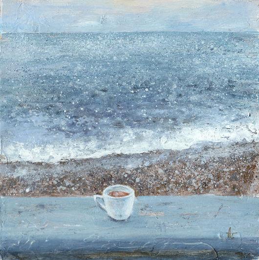 Пейзаж ручной работы. Ярмарка Мастеров - ручная работа. Купить Камерно про море. Handmade. Голубой, вода, чашка, небо