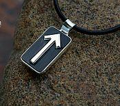 Фен-шуй и эзотерика handmade. Livemaster - original item Runic talisman with rune of Teyvaz - silver and Buffalo horn.. Handmade.