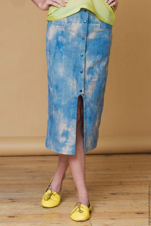 Юбки ручной работы. Ярмарка Мастеров - ручная работа. Купить Джинсовая юбка-миди. Handmade. Синий, юбка миди