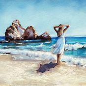 Картины и панно handmade. Livemaster - original item Seascape Girl on the beach (blue white brown). Handmade.