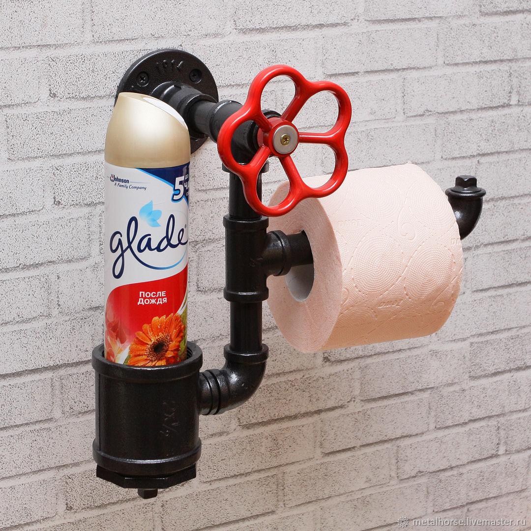 Держатель туалетной бумаги и освежителя в стиле лофт, стимпанк, ретро, Держатели, Москва,  Фото №1