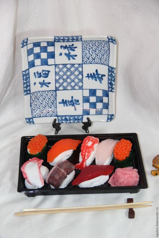 Персональные подарки ручной работы. Ярмарка Мастеров - ручная работа. Купить набор суши большой. Handmade. Коралловый, имбирь, набор суши