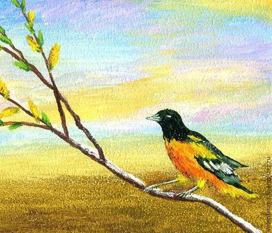 """Животные ручной работы. Ярмарка Мастеров - ручная работа. Купить картина """"Иволга на ветке"""" (оранжевый, голубой). Handmade. Желтый, картины"""
