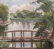 """Картины и панно ручной работы. Ярмарка Мастеров - ручная работа """"Мостик в парке"""", акварель. Handmade."""
