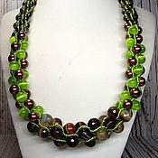 Украшения handmade. Livemaster - original item Necklace beads natural stone brown green. Handmade.