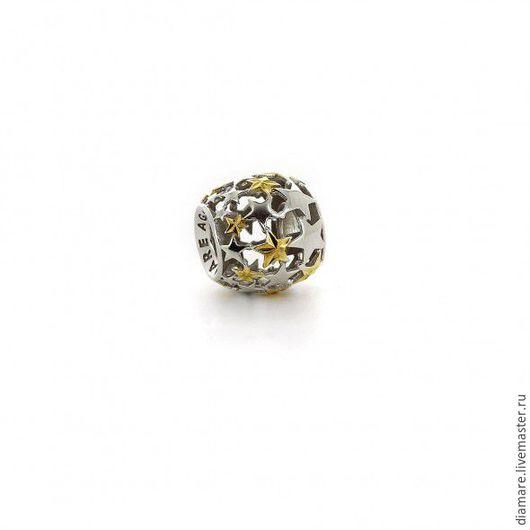 Серебряный шарм `Звездный`.Арт. 05-0343