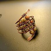 Украшения ручной работы. Ярмарка Мастеров - ручная работа Медное кольцо с унакитом. Handmade.