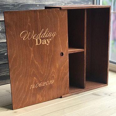 Свадебный салон ручной работы. Ярмарка Мастеров - ручная работа Подарочная коробка для шампанского и бокалов. Handmade.