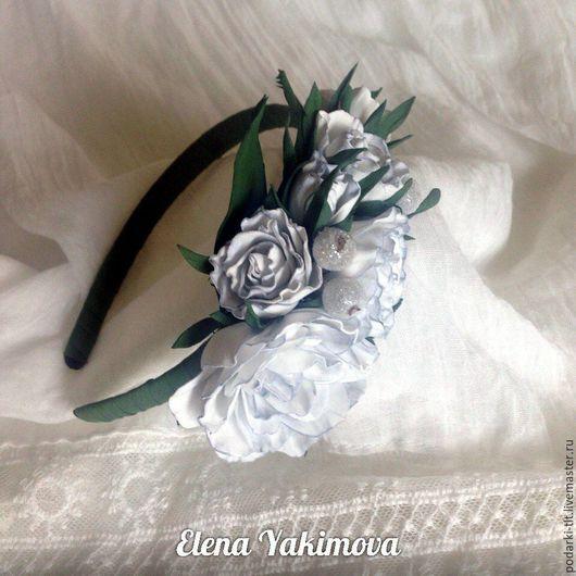 Диадемы, обручи ручной работы. Ярмарка Мастеров - ручная работа. Купить Ободочек с белыми розами. Handmade. Белый, ободок для невесты