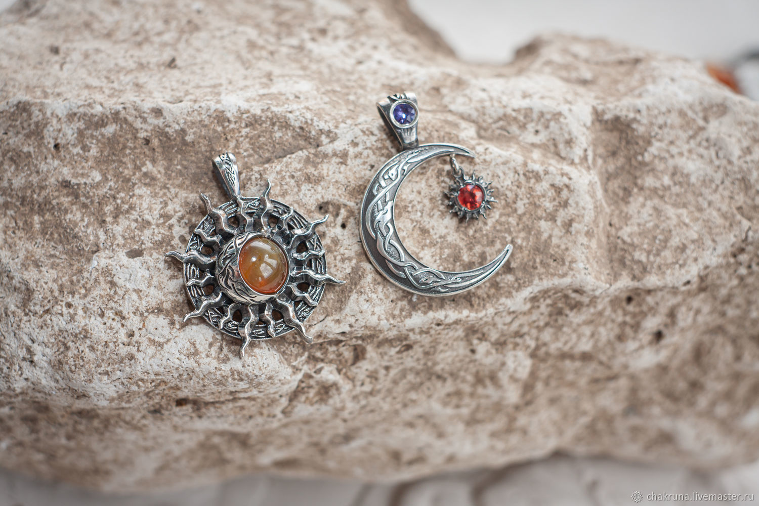 Pair set of pendants 'Sun and Moon' with sapphires, Pendants, Moscow,  Фото №1