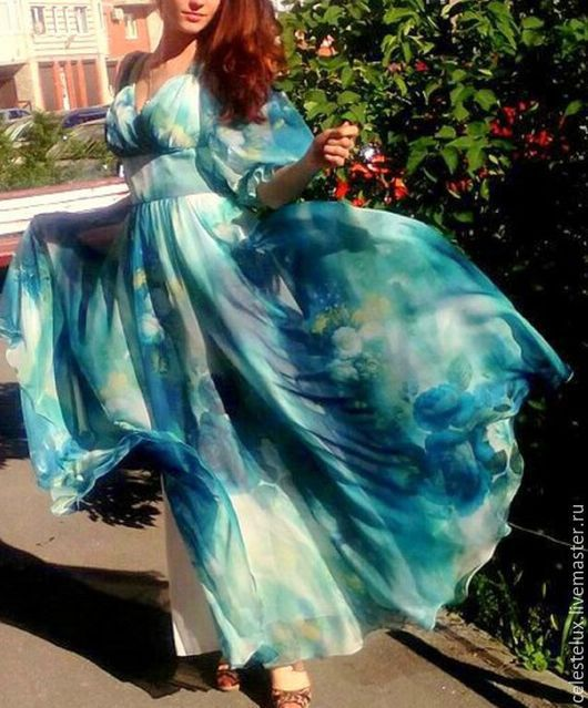 Платья ручной работы. Ярмарка Мастеров - ручная работа. Купить Loreen платье из шифона. Handmade. Тёмно-бирюзовый, красивое платье