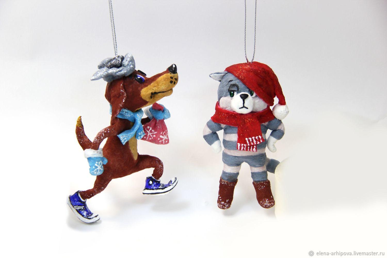 "Авторские ёлочные игрушки ""Матроскин"" и ""Шарик"", Stuffed Toys, Great Ustyug,  Фото №1"