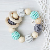 Одежда handmade. Livemaster - original item Teether - the first toy mint grey with wooden rings. Handmade.