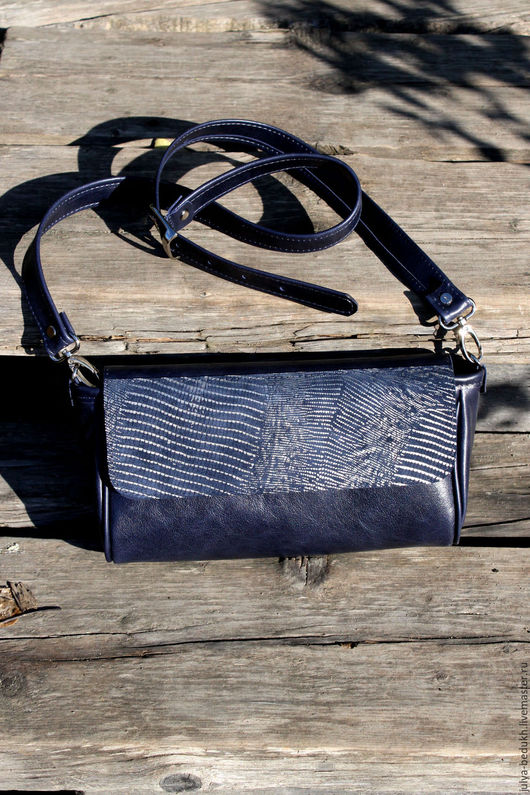 Женские сумки ручной работы. Ярмарка Мастеров - ручная работа. Купить Сумочка из натуральной кожи. Handmade. Тёмно-синий
