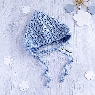 Товары для малышей ручной работы. Ярмарка Мастеров - ручная работа Чепчик для новорожденного мальчика, шапка вязаная детская голубая. Handmade.