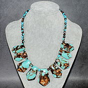 Украшения handmade. Livemaster - original item Turquoise mosaic necklace in costume jewelry composition. Handmade.