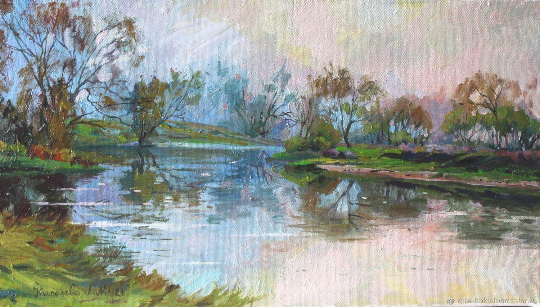 Туман на реке 25х44, Картины, Москва,  Фото №1