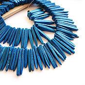 Материалы для творчества handmade. Livemaster - original item Beads blue sticks of natural coconut. Handmade.