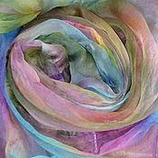Аксессуары handmade. Livemaster - original item Scarf silk-chiffon, All colors of autumn,hand-painted,110h170 cm. Handmade.