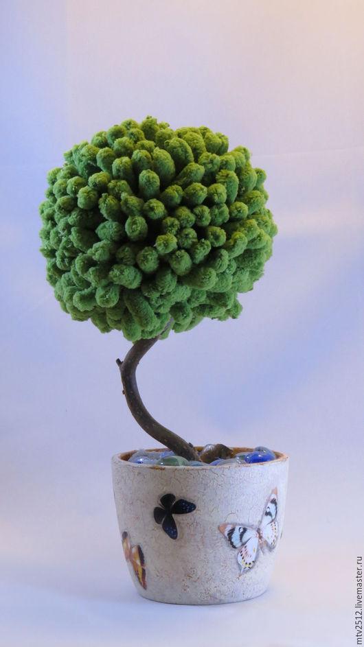 """Персональные подарки ручной работы. Ярмарка Мастеров - ручная работа. Купить Топиарий """"Уют"""".. Handmade. Зеленый, дерево, цветочный горшок"""