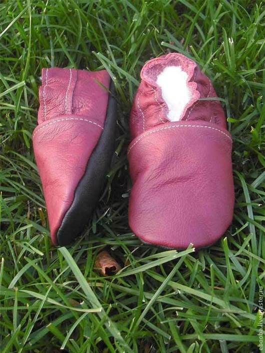 Кожаные чешки тапочки пинетки бордовые ebooba