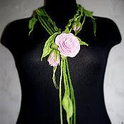 Украшения handmade. Livemaster - original item Felted necklace belt Eustoma. Handmade.