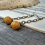 Украшения handmade. Livemaster - original item Earrings Textile Balls Long Chain Yellow Ochre Bronze Boho. Handmade.