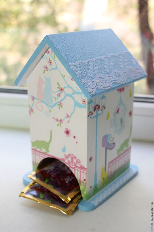 """Кухня ручной работы. Ярмарка Мастеров - ручная работа. Купить Чайный домик """"Весна"""". Handmade. Голубой, кружево, акриловый лак"""