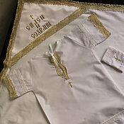 Работы для детей, ручной работы. Ярмарка Мастеров - ручная работа НАБОР. Крестильное рубаха+ крыжма хлопок. Handmade.