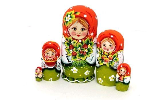 Матрешка Эля с букетом земляники 5м 14см, Народная кукла, Шатура,  Фото №1