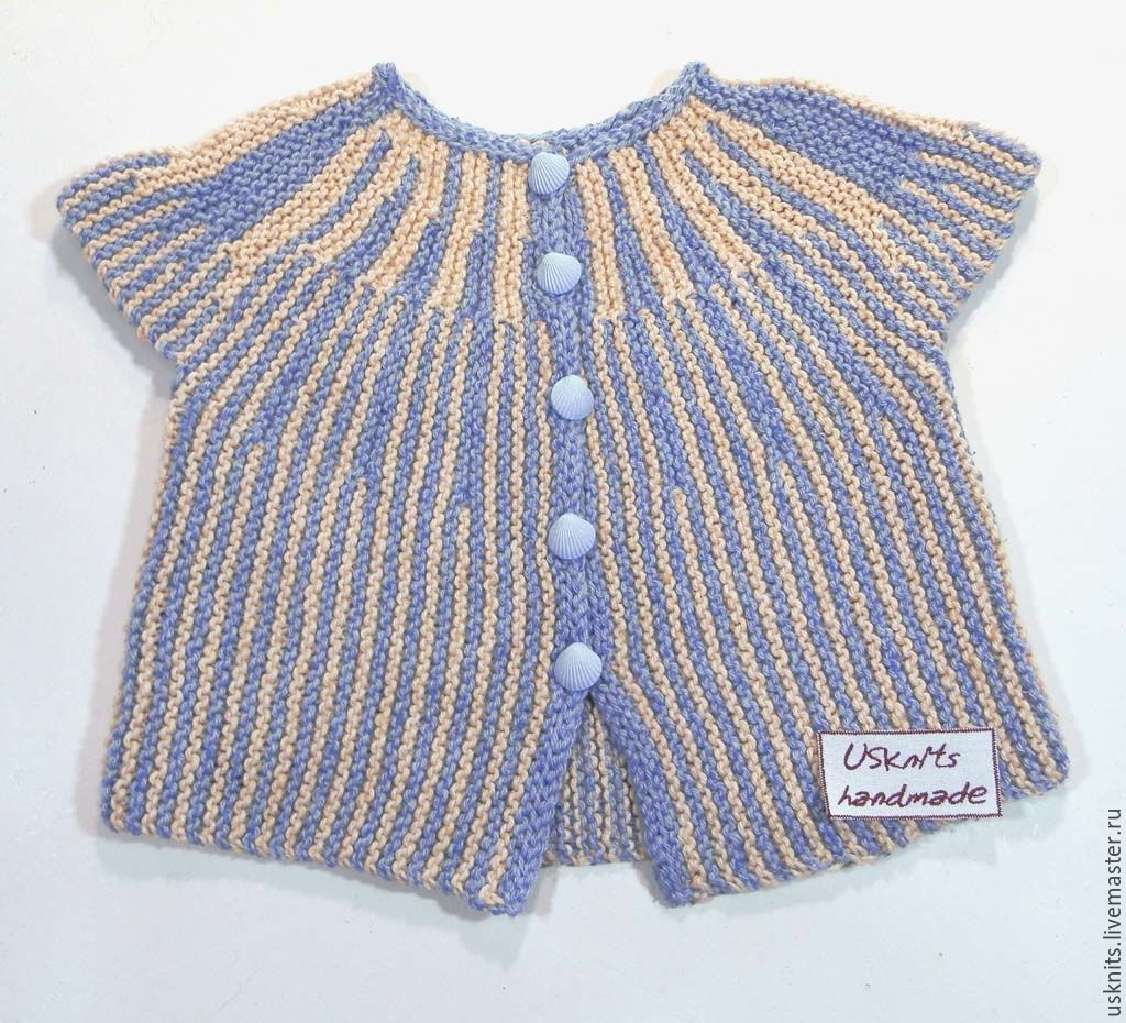 Knitted children's jacket made of cotton with silk for a baby from 3 months to 1 year. Blouse is soft, not prickly.
