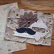 Открытки ручной работы. Ярмарка Мастеров - ручная работа Открытка с усами. Handmade.