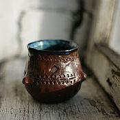 Посуда ручной работы. Ярмарка Мастеров - ручная работа Керамический коричневый бокал. Handmade.