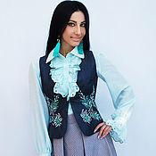 """Одежда handmade. Livemaster - original item Нарядный женский костюм с вышивкой """"Мятная свежесть"""". Handmade."""